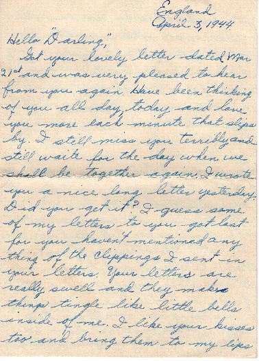 Go to Letter from Joe Olexa to Agnes Van Der Weide, April 3, 1944 item page