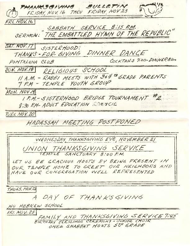 Go to Temple B'nai Israel Bulletin, November 16, 1962 item page