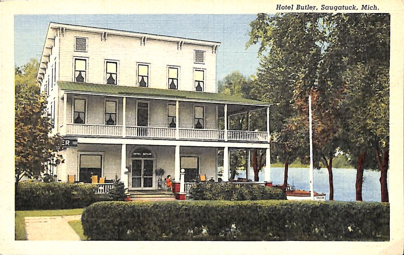 Go to Hotel Butler, Saugatuck, Mich. postcard item page