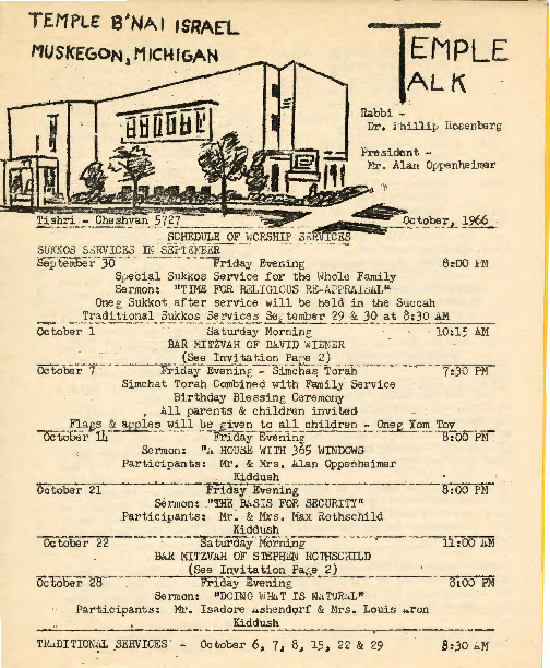 Go to Temple B'nai Israel Bulletin, October 1, 1966 item page