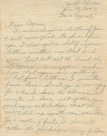 Go to Letter from Joe Olexa to Agnes Van Der Weide, January 19, 1943 item page