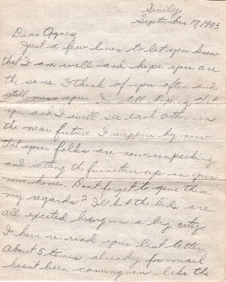 Go to Letter from Joe Olexa to Agnes Van Der Weide, September 17, 1943 item page