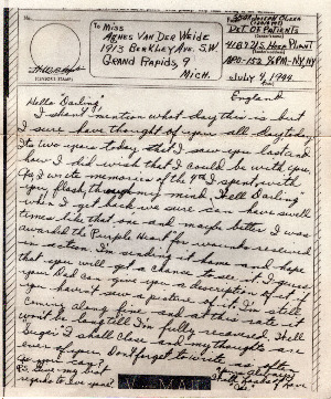 Go to Letter from Joe Olexa to Agnes Van Der Weide, July 4, 1944 item page