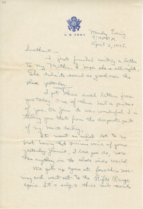 "Go to Letter to Jean Worthington by Edward ""Ned"" Manley, April 02, 1945. item page"