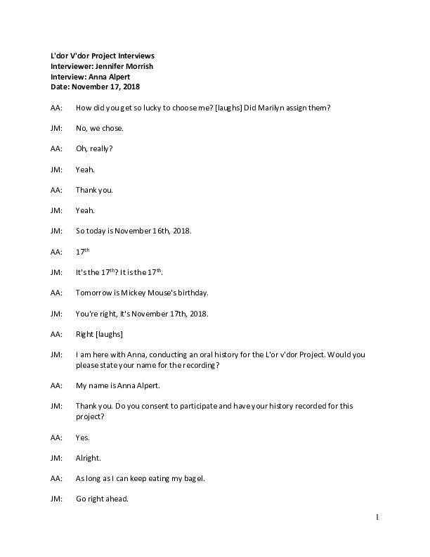 Go to Anna Alpert (Audio interview and transcript), 2018 item page