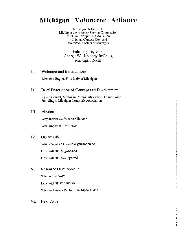 Go to ConnectMichigan Alliance 2000-02-16 Michigan Volunteer Alliance meeting agenda and notes item page