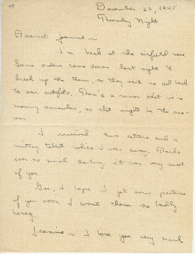 """Go to Letter to Jean Worthington by Edward """"Ned"""" Manley, December 20, 1945. item page"""