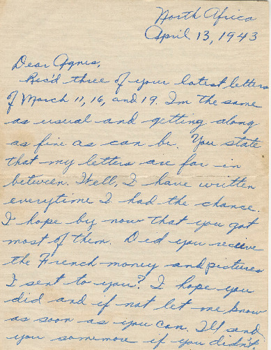 Go to Letter from Joe Olexa to Agnes Van Der Weide, April 13, 1943 item page