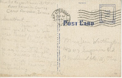 "Postcard to Jean Worthington by Edward ""Ned"" Manley, February 19, 1945."