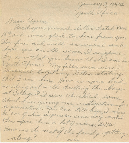 Go to Letter from Joe Olexa to Agnes Van Der Weide, January 3, 1943 item page