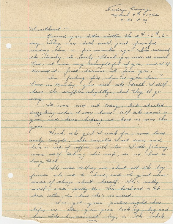 "Go to Letter to Edward ""Ned"" Manley by Jean Worthington, March 09, 1945. item page"