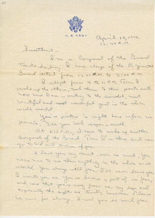 "Go to Letter to Jean Worthington by Edward ""Ned"" Manley, April 18, 1945. item page"