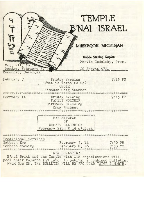 Go to Temple B'nai Israel Bulletin, February 3, 1964 item page