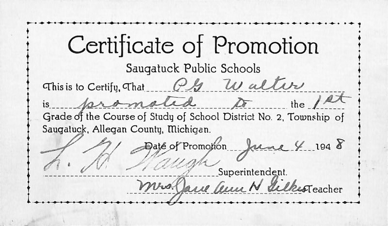 Go to P.G. Walter First Grade promotion certificate item page