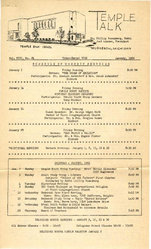 Go to Temple B'nai Israel Bulletin, January 7, 1966 item page
