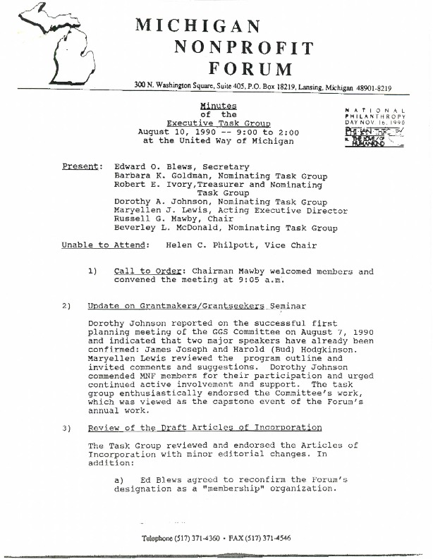 Go to Michigan Nonprofit Forum 1990-09-26 steering committee executive task group minutes item page