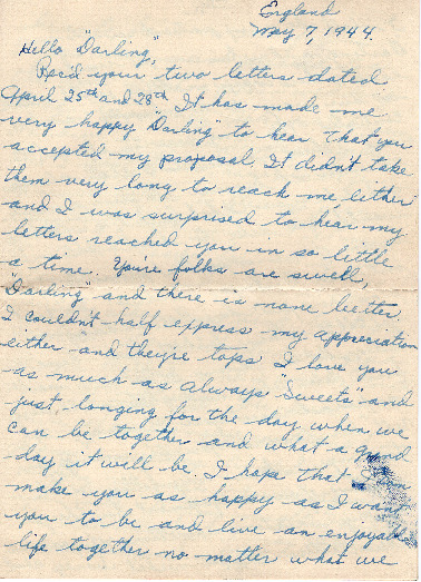 Go to Letter from Joe Olexa to Agnes Van Der Weide, May 7, 1944 item page