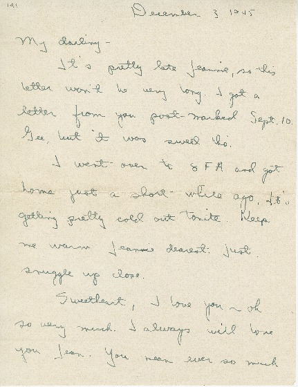 "Go to Letter to Jean Worthington by Edward ""Ned"" Manley, December 03, 1945. item page"