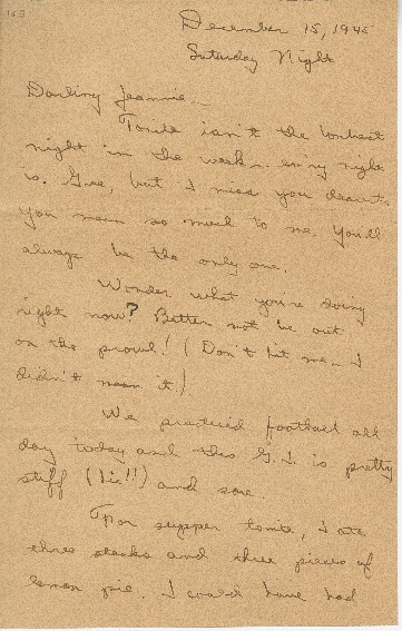 "Go to Letter to Jean Worthington by Edward ""Ned"" Manley, December 15, 1945. item page"