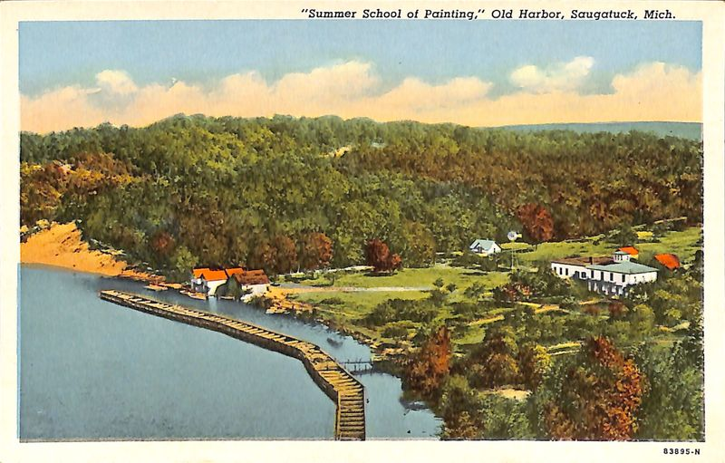 """Summer School of Painting,"" Old Harbor, Saugatuck, Mich. postcard"