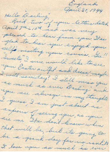 Go to Letter from Joe Olexa to Agnes Van Der Weide, April 20, 1944 item page