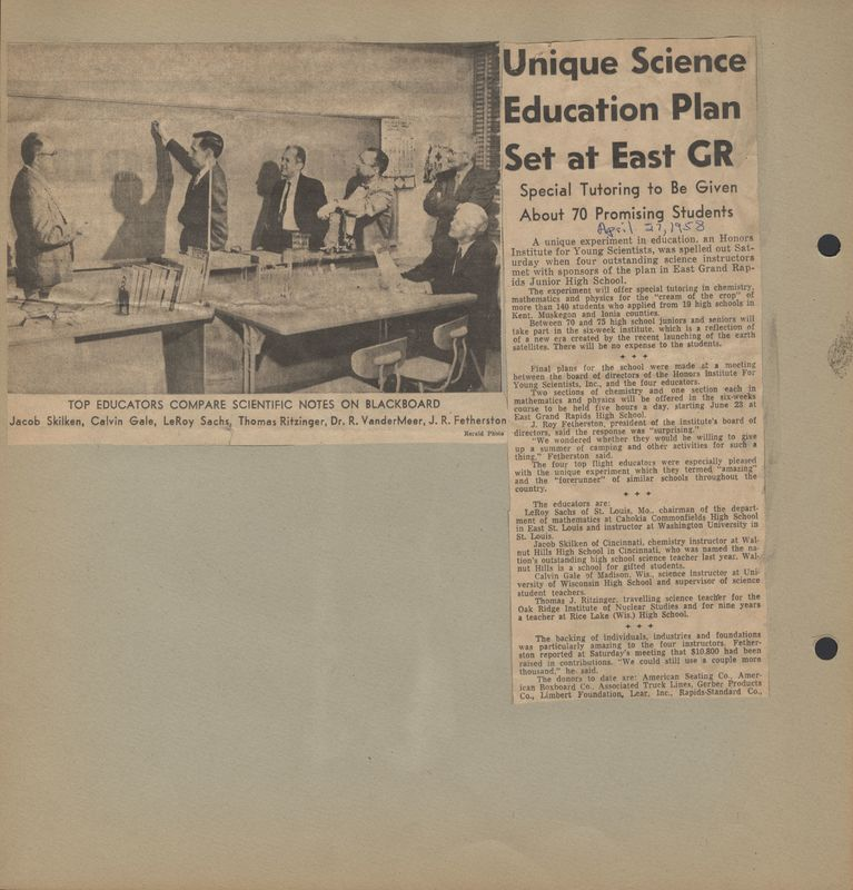 Go to Unique science education plan set at East Grand Rapids item page
