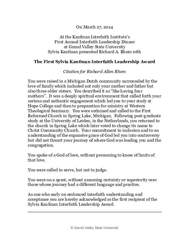 Go to Citation & Response On Receiving the First Sylvia Kaufman Interfaith Leadership Award item page
