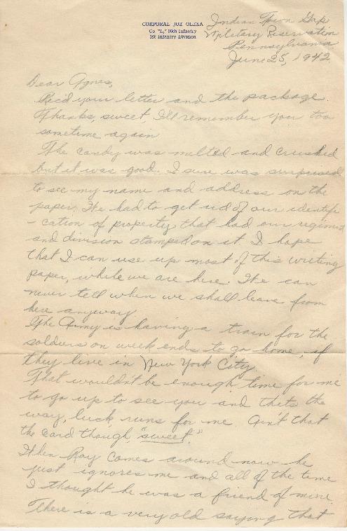 Go to Letter from Joe Olexa to Agnes Van Der Weide, June 25, 1942 item page