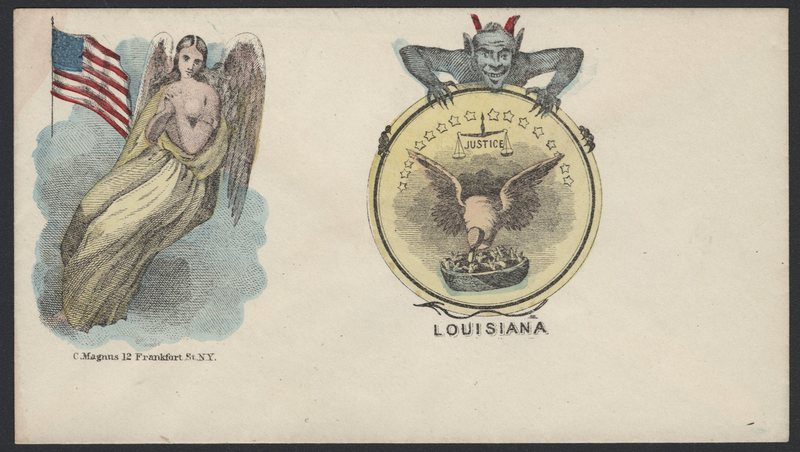 Go to Angel protecting the Union and devil attached to seal of Louisiana item page