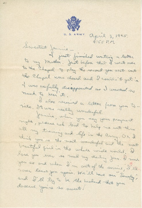 "Go to Letter to Jean Worthington by Edward ""Ned"" Manley, April 03, 1945. item page"
