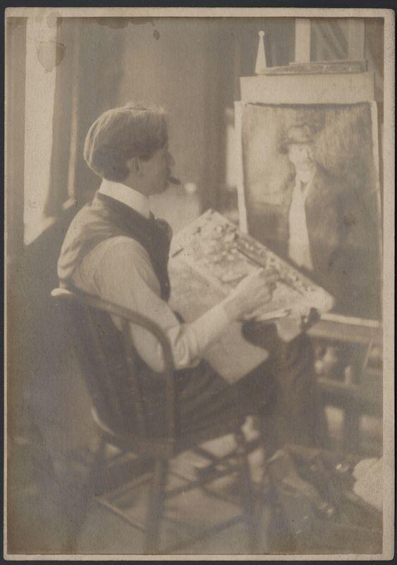 Mathias Alten painting portrait in Grand Rapids studio