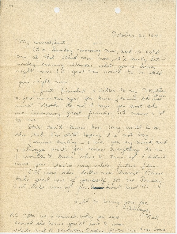 """Go to Letter to Jean Worthington by Edward """"Ned"""" Manley, October 21, 1945. item page"""