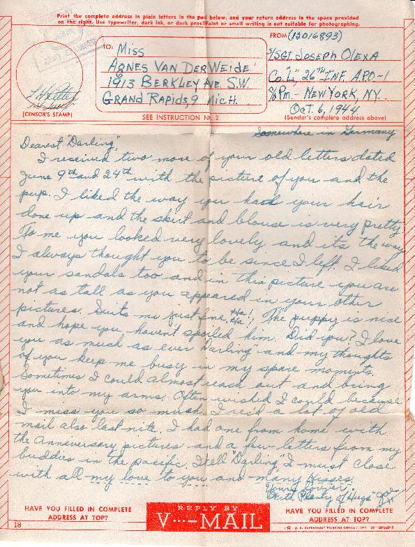 Go to Letter from Joe Olexa to Agnes Van Der Weide, October 6, 1944 item page