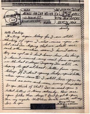 Go to Letter from Joe Olexa to Agnes Van Der Weide, September 26, 1943 item page