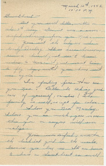 "Go to Letter to Edward ""Ned"" Manley by Jean Worthington, March 10, 1945. item page"