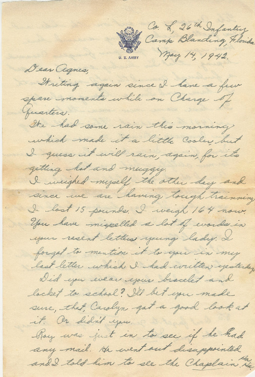 Go to Letter from Joe Olexa to Agnes Van Der Weide, May 14, 1942 item page