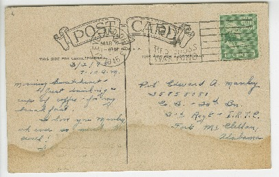 """Go to Postcard to Edward """"Ned"""" Manley by Jean Worthington, March 02, 1945. item page"""