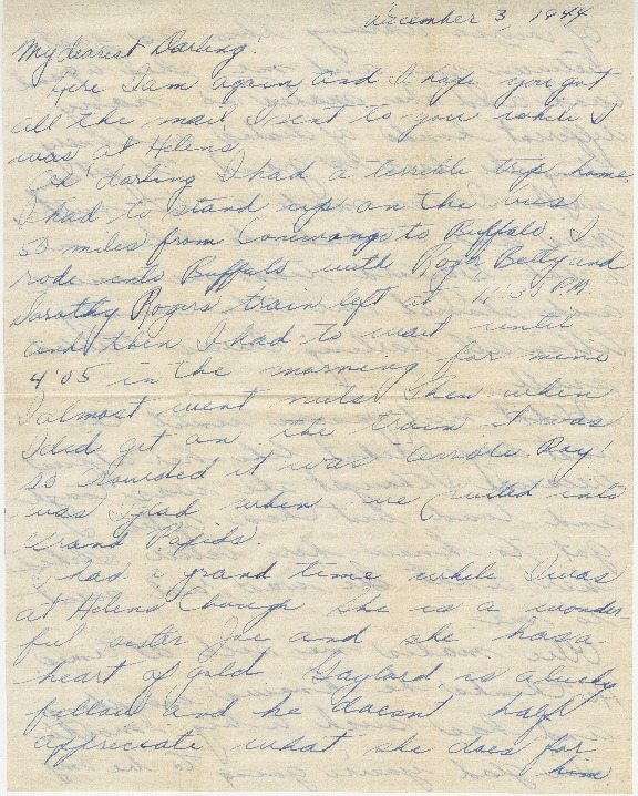Go to Letter from Agnes Van Der Weide to Joe Olexa, December 3, 1944 item page