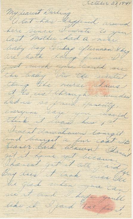 Letter from Agnes Van Der Weide to Joe Olexa, October 23, 1944