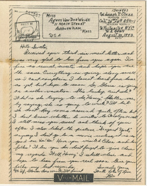 Go to Letter from Joe Olexa to Agnes Van Der Weide, August 30, 1942 item page