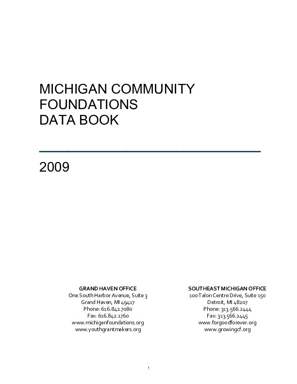 Go to Council of Michigan Foundations 2009 Data Book item page