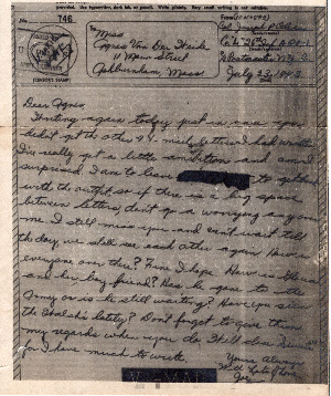 Go to Letter from Joe Olexa to Agnes Van Der Weide, July 23, 1943 item page