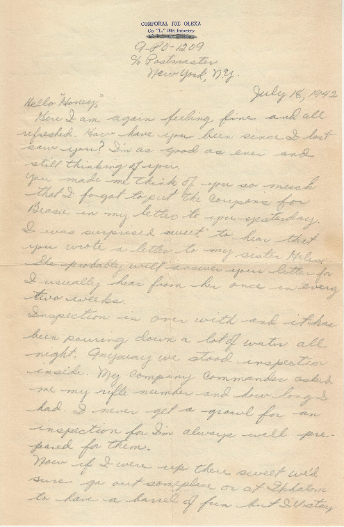 Go to Letter from Joe Olexa to Agnes Van Der Weide, July 18, 1942 item page