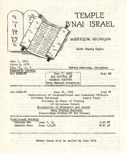 Go to Temple B'nai Israel Bulletin, June 1, 1963 item page