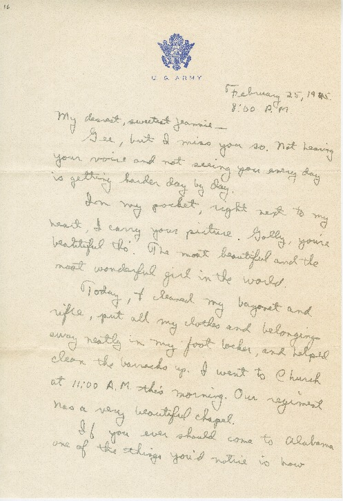 """Go to Letter to Jean Worthington by Edward """"Ned"""" Manley, February 25, 1945. item page"""