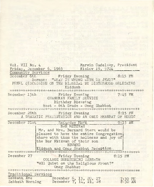 Go to Temple B'nai Israel Bulletin, December 6, 1963 item page