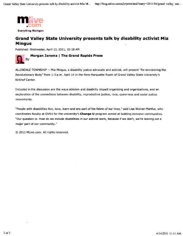 Go to Grand Valley State University presents talk by disability activist Mia Mingus item page