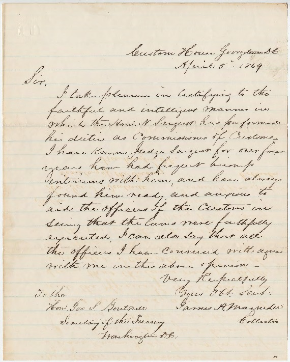 Go to Nathan Sargent petition and letter of recommendation for Commissioner of Customs, April 5, 1869 item page