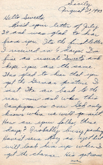 Go to Letter from Joe Olexa to Agnes Van Der Weide, August 20, 1943 item page