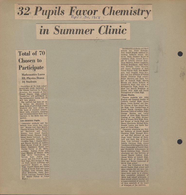 Go to 32 pupils favor chemistry in summer clinic item page